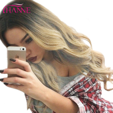 "HANNE Ombre Wig Black to Blonde 26"" Heat Resistant Synthetic Hair Skin top Long Wavy Wigs For Black Women's Daywear Or Cosplay(China)"