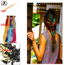 100pcs/lot Ombre I Tip Hair Extension With Free Beads Hook 2 Tones Long Rainbow Loop Grizzly Feather Aliexpress Hair Extensions