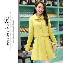 Spring Autumn Women Coat WoolenOuterwear Fashion Women's Elegant Slim Overcoat Outerwear Dress Coat