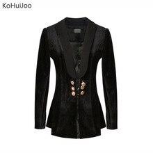 Kohuijo осень 2017 г. Для женщин бархатный блейзер черный Золотой Кнопка цепочкой и пряжкой длинный костюм Куртки для Для женщин моды блейзер ...(China)