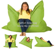 Cover only No Filler - Green Kids square big pillow bean bag chair, outdoor water resistant sofa(China)