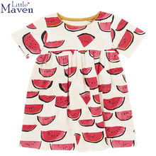 2017 Euro USA New Summer Brand baby girls print watermelon O-neck one-piece dress Quality Cotton Girls Casual dresses DGLMY014(China)