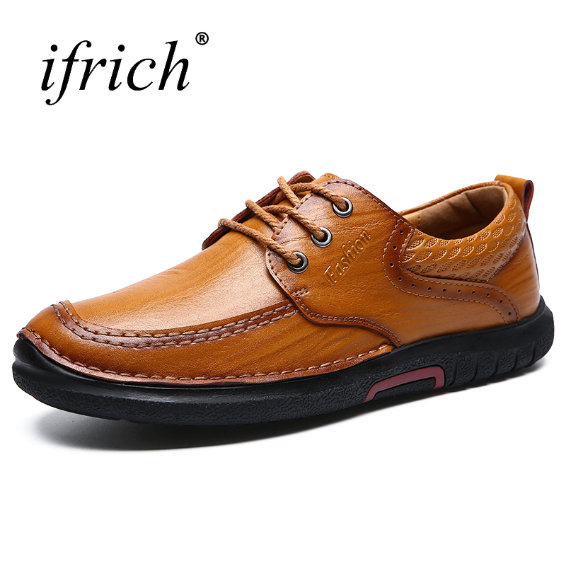 Ifrich Spring Summer Mens Genuine Leather Shoes Brown Lace Up Cow Leather for Man Comfortable Man Luxury Casual Footwear<br>