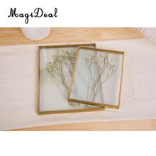 MagiDeal Antique Brass+Glass Photo Frame Free Stand Hanging Picture Frames Home Decor Gift(China)