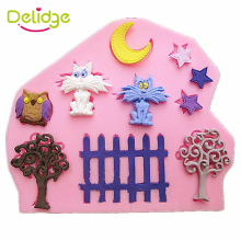Delidge 1 pc Small Garden Cake Mold Silicone Cat Moon Star Tree Fences Owl Shape Fondant Mold Sugar Baking Cake Decorating Tool