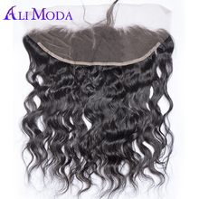 ALI MODA Hair 13x4 Lace Frontal Brazilian Water Wave Ear to Ear Pre Plucked Frontal Closure With Baby Hair 100% Remy Human Hair