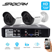 Saqicam 4CH AHD 1080N CCTV DVR 2PCS 720P Home Outdoor Security Camera Day Night Video Surveillance System with Motion Detection
