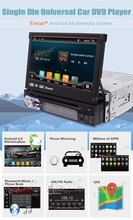 Android 6.0 Car DVD Player 1 Din 7'' HD Car Stereo GPS Navigation Headunit Bluetooth AM/FM Radio WiFi 1080P Video Audio output