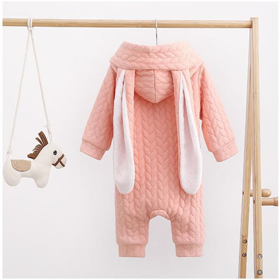 2017 Baby Girl Romper Cotton Thick Hooded Rabbit Solid Cute Baby Newborn Jumpsuits Fashion Winter Baby Rompers Long Sleeve<br><br>Aliexpress