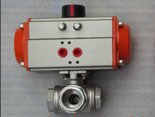 AT double-acting Pneumatic Actuactor 3 way T-port NPT/BSPT female screwed/thread stainless steel ball valve 1 1/4 (304)<br><br>Aliexpress