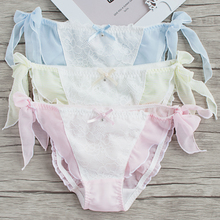 Japanese cute little fairy bow lace underwear Lace Chiffon straps tanga thong string bragas culotte