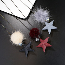 New Fashion Mink Fur Ball star Pendant Necklace Women Red Gray White Long Crystal Sweater Chain cute gift(China)