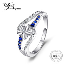 JewelryPalace 0.3ct Created Sapphire Flower Ring 925 Sterling Silver Charm Fine Jewelry New Arrival Special For Women(China)