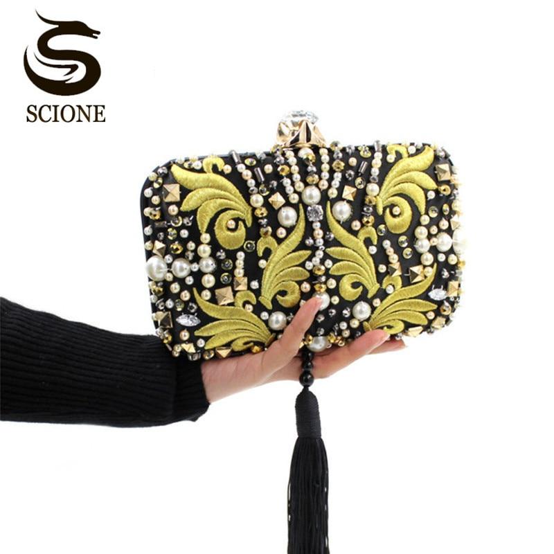 Luxury Pearl Beads Diamonds Gold Embroidery Clutch Bag Black Tassels Crystal Evening Bag Bridal Wedding Handbag with Chain Y636<br>