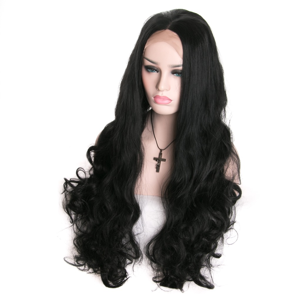 Body Wave Black Wig Lace Frontal Wigs African American Women Perruque Synthetic Women Varnish Fake Hair Pineapple Wave Hair Wigs<br><br>Aliexpress