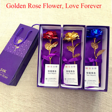 Best Gift! 24k Gold Foil Gold Gilded Rose Valentine Day Sweet gift for your Lover Forever Love Bloom with Gift Retail Box