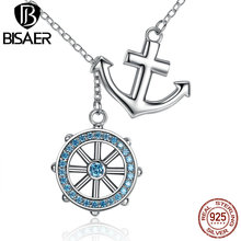 BISAER Popular Design 925 Sterling Silver Cross Ferris Wheel Blue Anchor Pendants & Necklaces Wedding Jewelry ECN049