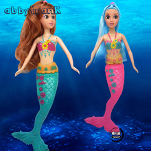 Abbyfrank 33cm Mermaid Dolls 3D Eye Swim Wig Mermaid Toys Girls Curved Tail Toys Moveable Joint Waist Swing Moxie Doll Dream