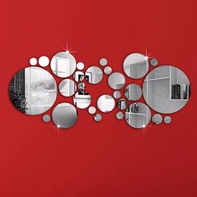 30ps/Set Fashion Creative Acrylic Mirror Round Wall Sticker Art Wall Sticker Home Decoration For Living Room Bed Room
