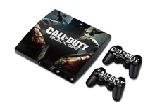 Black OPS 3 Vinyl Decal Skin Sticker for PlayStation 3 PS3 Slim Console with 2Pcs Controllers Covers Skin