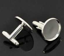Free shipping 20mm cufflink  high quality sterling silver cufflink base, cufflink blank,
