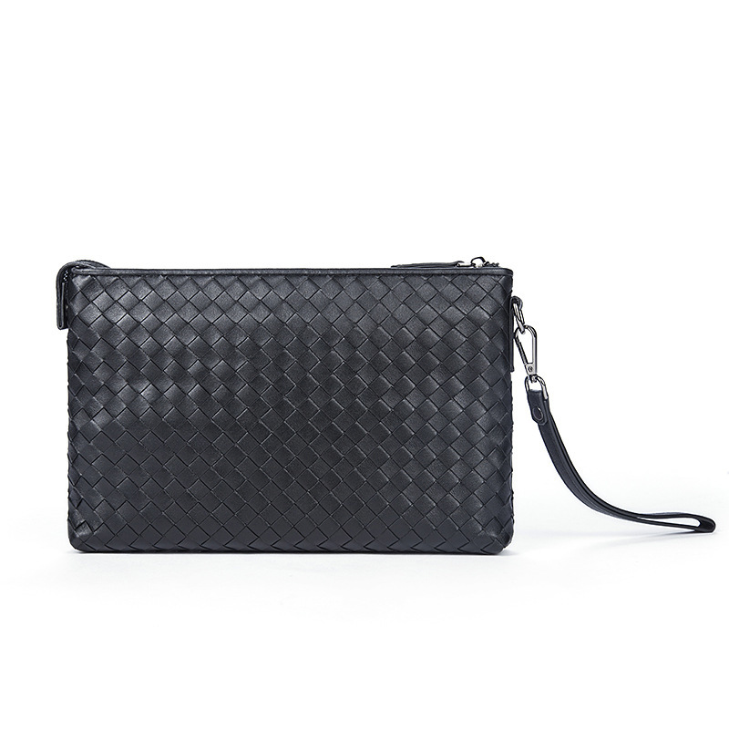 Mens Genuine Leather Wallets Men Fashion Clutch Purse Male Long Wallet Small Leather Knitting Style Money Coin Bag<br>