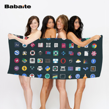 Babaite Custom Happy Jon is Happy Button Light Food Phone Icons Beach Towel Bathroom Shower Drying Washclothh Sports Towels