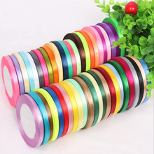 6mm 25 yards Single Face Silk Satin Ribbon Decorative Gift Packing Wedding Crafts Christmas White Pink Red Black Ribbons