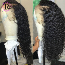 RULINDA Curly Wig Human-Hair-Wig Front-Wig Pre-Plucked Non-Remy-Hair Brazilian 13--4lace