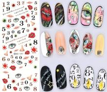 DIY Make Up Product Design Water Transfer Nails Art Sticker Numbers Eye Kiss Nail Wraps Sticker Watermark Fingernails Decals