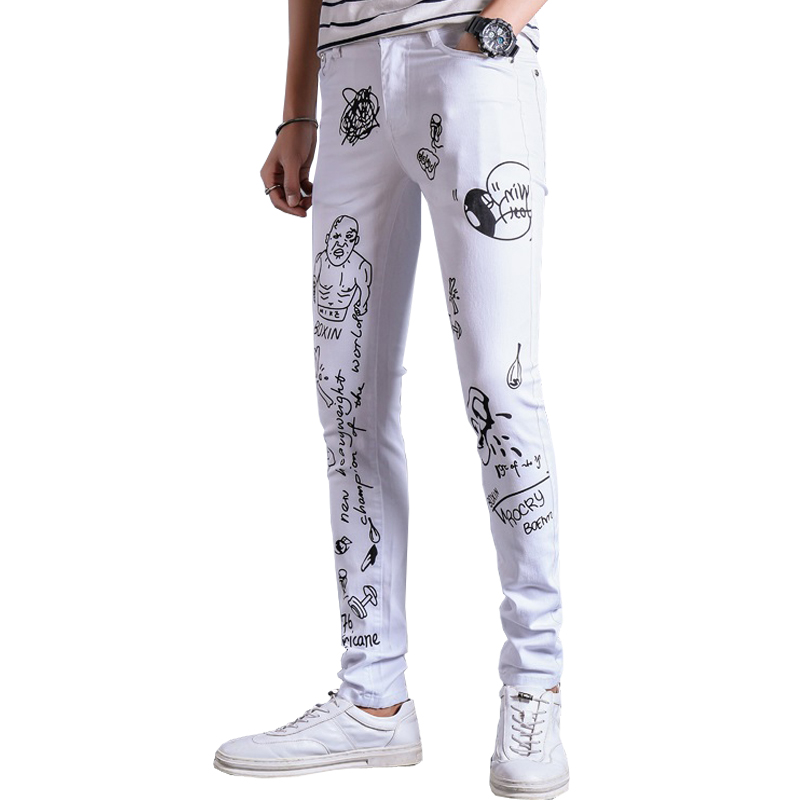 2017 fashion printed men jeans pants cotton slim fit denim skinny trousers 28-36 AYG357Îäåæäà è àêñåññóàðû<br><br>