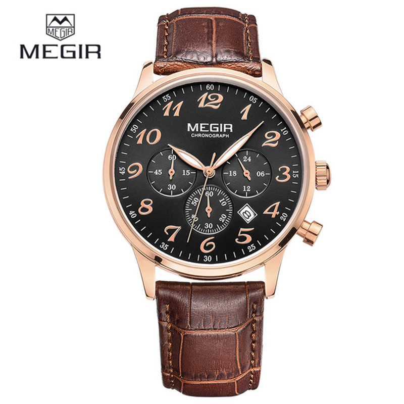 MEGIR Top Casual Chronograph Leather Watches Men Luxury Brand Fashion Sports Calendar Mens Quartz Wrist Watch Relogio Masculino<br>