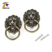 Lion Head Wardrobe Door KnobsBronze Color Zinc alloy Furniture Cupboard Handle Closet Knob Kitchen Cabinet Drawer pulls Antique