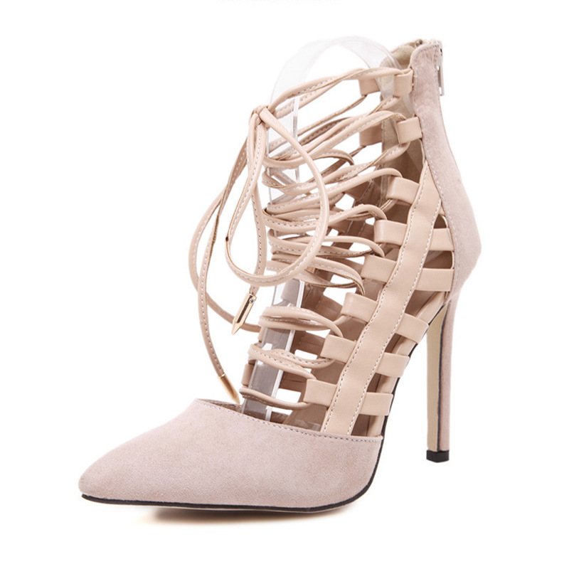 Women Pumps 2017 Brand Sexy High Heels Wedding Party Woman PU Strip Shoes Beige Black Heels Zapatos Mujer Plus Size 35-40<br>