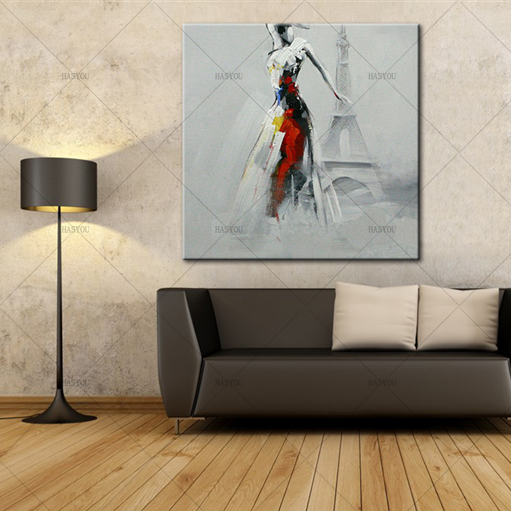 Pop-Art-Sexy-Lady-Dancing-in-Front-of-Eiffel-Tower-Oil-Painting-Modern-Knife-Painted-Painting (2)