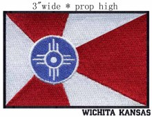 "Wichita, Kansas USA Flag 3"" wide embroidery patch for applique embroidery flower patches/goal(China)"