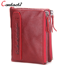 CONTACT'S women wallet Genuine Leather Men Wallet Purse Female Card Holder Small Clutch bags wallet coin Purse Money Bag Red