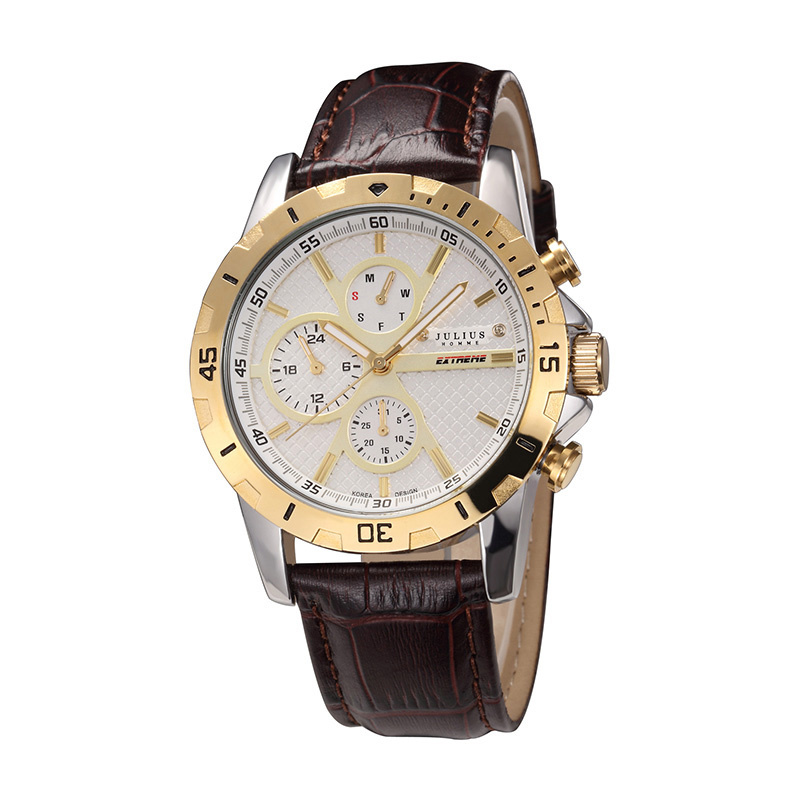 Julius Mens Homme Watch Japan Quartz Hours Fine Fashion Clock Bracelet Leather Band Boy Birthday Fathers Day Gift Box JAH-056<br>