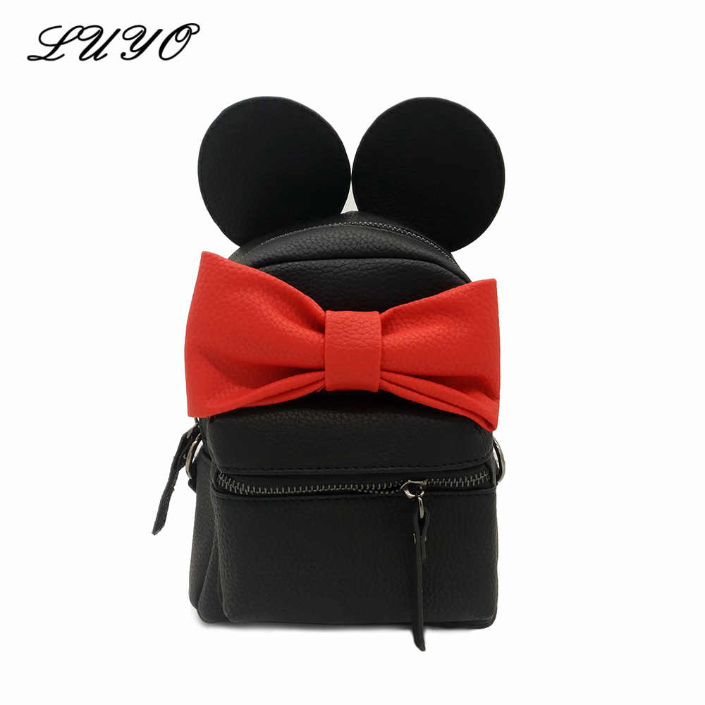 debea0ef7f46 New Cute Mini Small Cat Backpack Leather Backpacks Bags For Teenage Girls  Minnie Mouse Women Mickey