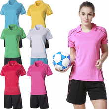 2016 New Arrival Polyester Womens Soccer Training Jersey Sets Blank Football Short-sleeve Suit Paintless Sports Runing Tracksuit(China)