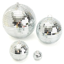 KiWarm Fashion Silver Glass Rotating Mirror Disco Ball For Party Stage KTV Bars Shop Holiday Home Room Decor Crafts Ornaments