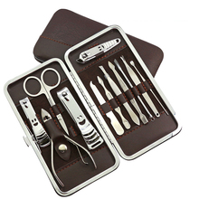 New 12 PCS/set Mini Pedicure Manicure Set Nail Cuticle Clippers Cleaner Grooming Case Tool Beauty Care Set Stainless Steel Tool(China)