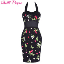 Buy Womens Bodycon Sheath Summer Dress 2018 Halter Sexy Club Casual Party Vintage Floral Print Backless Pencil Wiggle Work Dresses