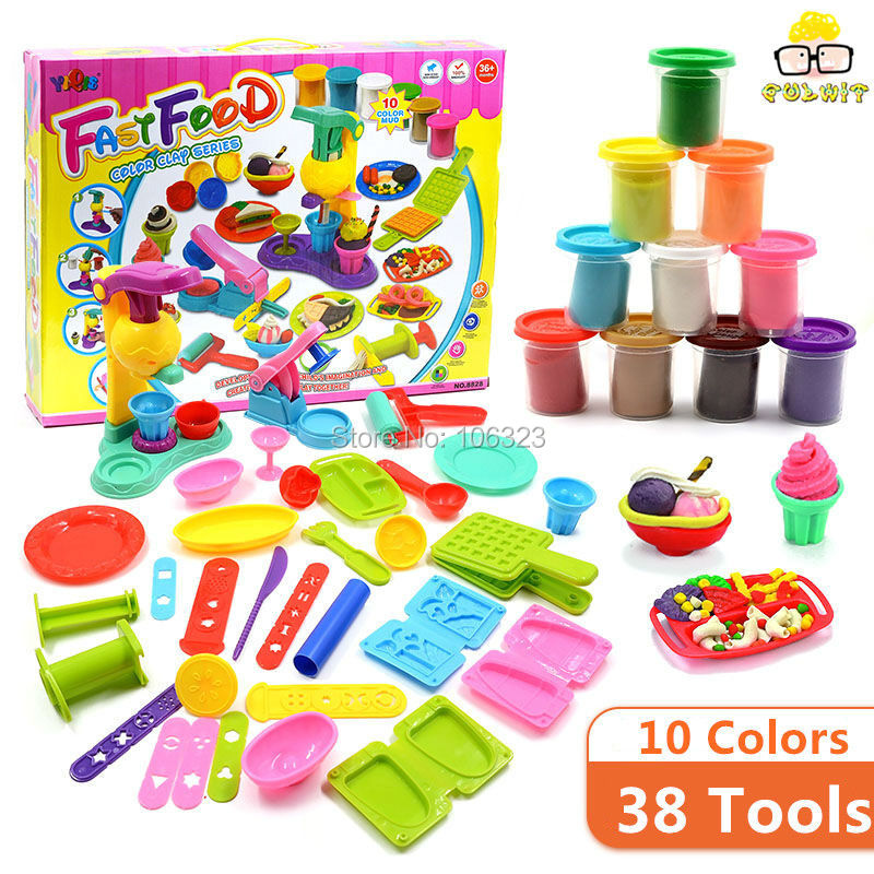 38 Tools 10 Colors Playdough Toys, Fast Food Center Colour Clay Game, Develop Childrens Imagination Creativity, Ideal Education<br><br>Aliexpress