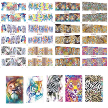 12 Designs in One Sets Sexy DIY Creative Wild Animal Leopard Printing Decals Nail Art Sticker Watermark Tattoos NB085-096(China)