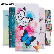 For Funda LG K10 2017 Case Leather Wallet Flip Magnetic Butterfly Feather Painted Mobile Phone Cases For LG K10 2017 Case Cover(China)