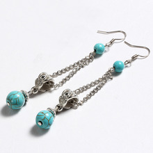 ZOSHI Vintage Tibetan Silver Blue Stone exotic drop dangle fashion earrings wholesale Jewelry for girls Wholesale