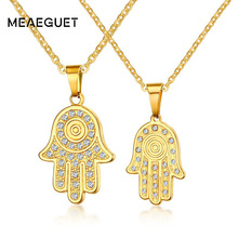 Meaeguet Hamsa Hands Crystal Pendant Necklaces Gold Color Couple Love Forever Vintage Stainless Steel Jewelry(China)