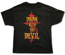 "OKOUFEN DEVILDRIVER ""DRINK WITH THE DEVIL"" BLACK T-SHIRT NEW OFFICIAL METAL BAND ADULT cheap t shirt screen printing(China)"