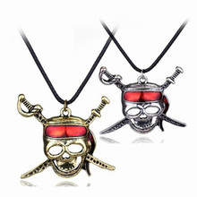Movie Jewelry Necklaces Pirates of the Caribbean Captain Jack Sparrow Cross Swords Skull Mask Pendant Necklace Collier Men Gift
